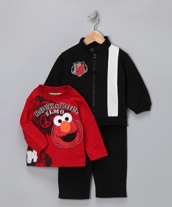 Black 'Rock Elmo' Jacket Set - Infant