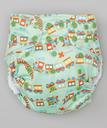 Green Train Pocket Diaper
