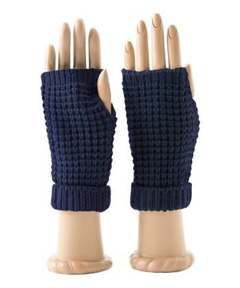 Navy Piper Fingerless Gloves
