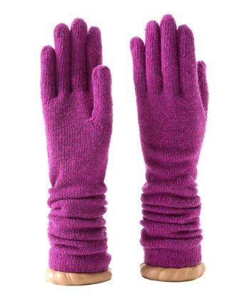 Magenta Katie Wool-Blend Ruched Gloves