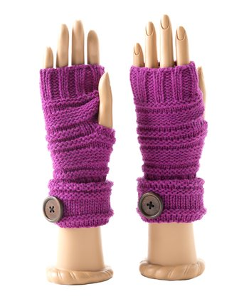 Magenta Millie Wool-Blend Fingerless Gloves
