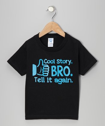 Black 'Cool Story Bro' Tee - Toddler & Kids