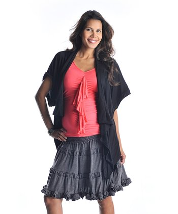 Charcoal Tiered Maternity Skirt