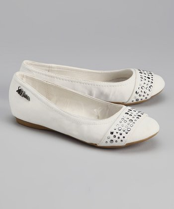 White Sequin Flat