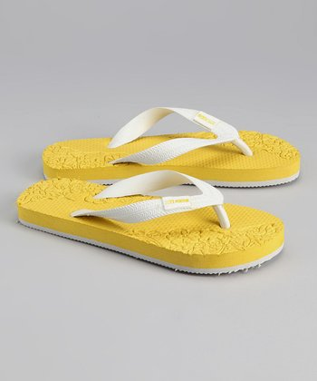 Yellow & White Flip-Flop