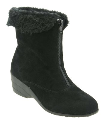 Black Suede Fluffy Boot