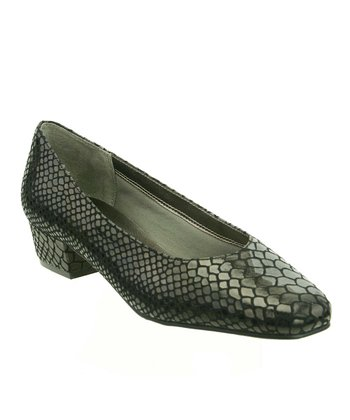 Black Snakeskin Liz Pump