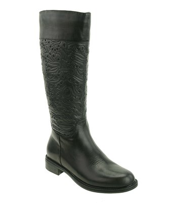 Black Calf Embossed Saddle Boot