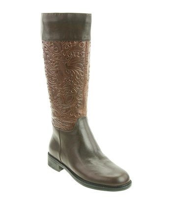 Brown Calf Embossed Saddle Boot