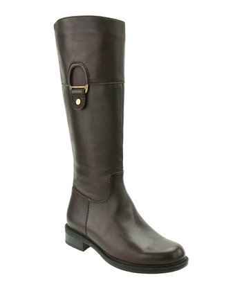Brown Leather Wanda Wide-Calf Boot