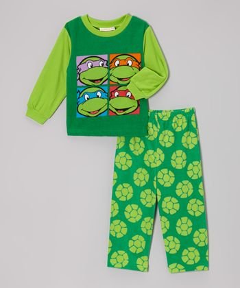 Green Ninja Turtles Fleece Pajama Set - Toddler