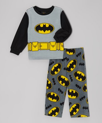 Black & Gray Bat Signal Pajama Set - Toddler & Boys