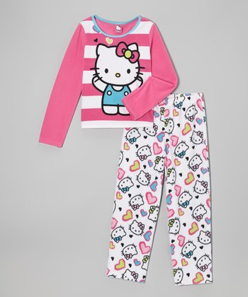 Pink Hello Kitty Stripe Pajama Set - Girls