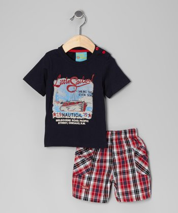 Black & Red Plaid 'Little Sailor' Tee & Shorts