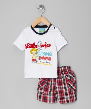 White & Red Plaid 'Little Surfer' Tee & Shorts
