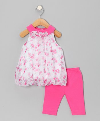 Fuchsia Rosette Bubble Tunic & Leggings