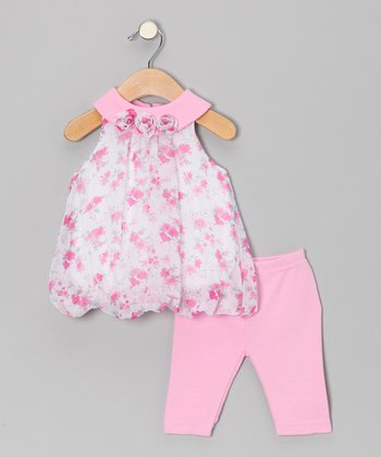 Pink Rosette Bubble Tunic & Leggings