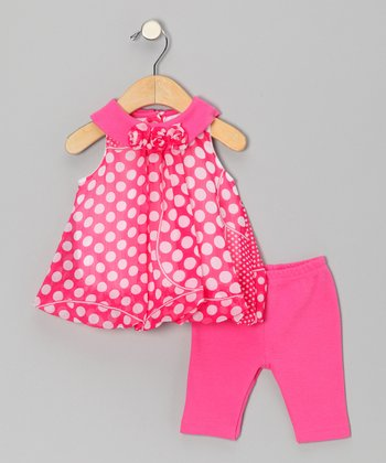 Pink Polka Dot Bubble Tunic & Leggings