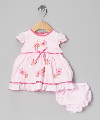 Pink Floral Bow Dress & Diaper Cover