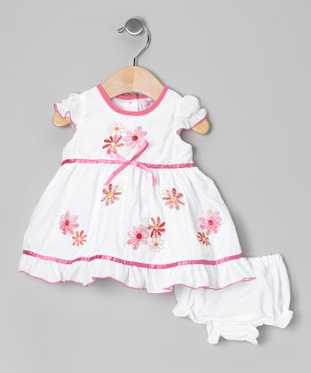 White Floral Bow Dress & Diaper Cover