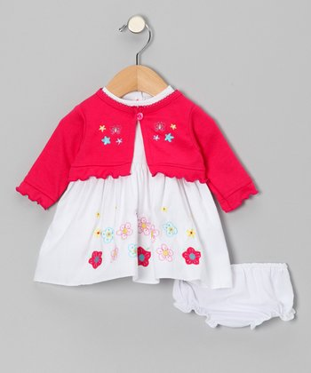 Fuchsia Flower Cardigan Set