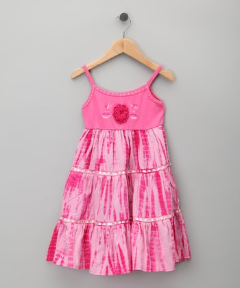 Pink Rosette Tie-Dye Dress - Toddler & Girls