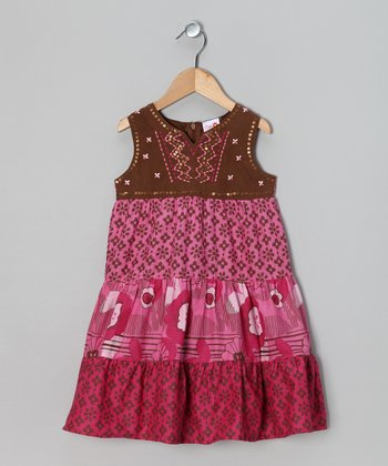 Pink Sequin Flower Babydoll Dress - Toddler & Girls