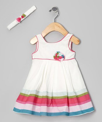 White Stripe Dress & Headband - Infant