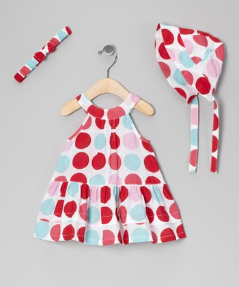 White & Red Polka Dot Yoke Dress Set - Infant