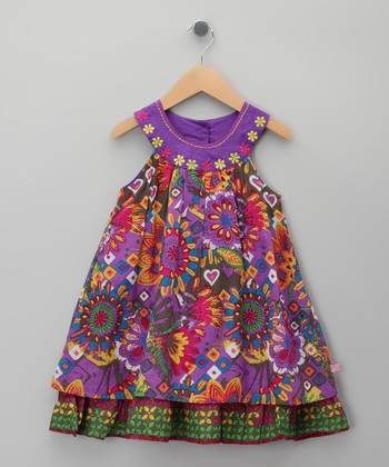 Purple Floral Yoke Dress - Toddler & Girls