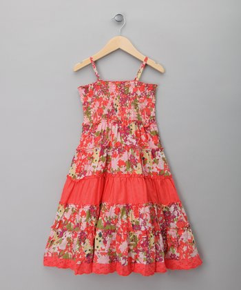 Coral Flower Tiered Dress - Toddler & Girls