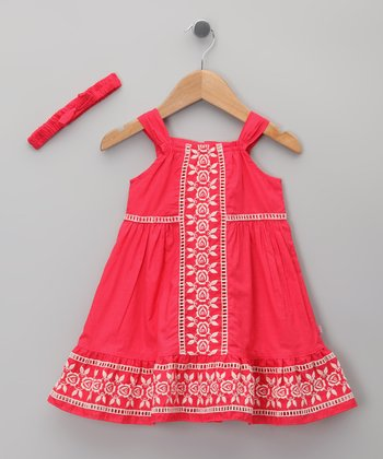 Hot Pink Rose Embroidered Dress & Headband - Infant & Toddler
