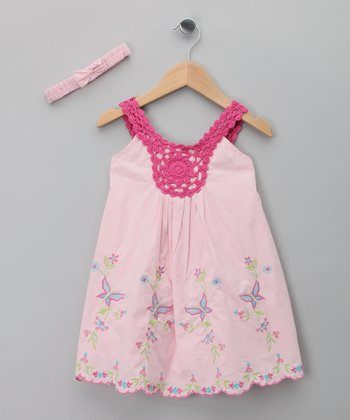 Pink Butterfly Dress & Headband - Infant & Toddler