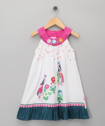 White Floral Yoke Dress - Toddler & Girls