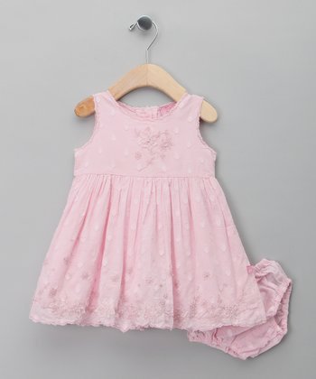 Pink Flower A-Line Dress & Diaper Cover - Infant