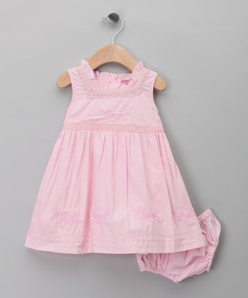 Pink Rose A-Line Dress & Diaper Cover - Infant