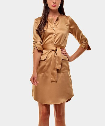 Tan Annabel Three-Quarter Sleeve Dress