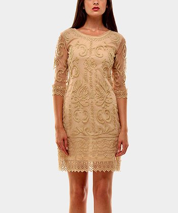 Beige Cocktail Shift Dress