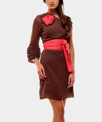 Chocolate & Red Shannon Asymmetrical Dress