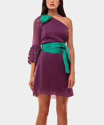 Purple & Aqua Shannon Asymmetrical Dress