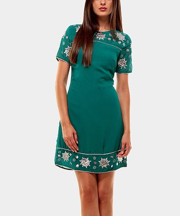 Turquoise Year Lent Short-Sleeve Dress
