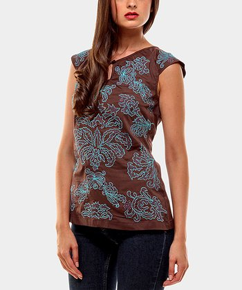 Chocolate & Teal Damask Cap-Sleeve Top