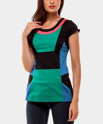 Black & Teal Aroma Color Block Cap-Sleeve Top