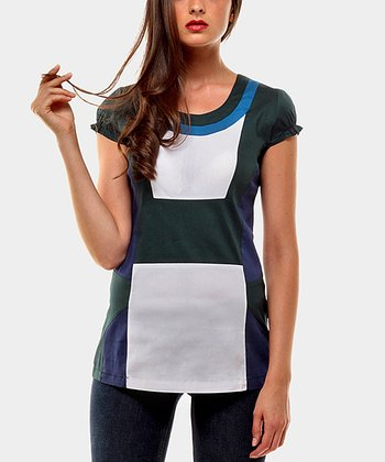 Green & White Aroma Color Block Cap-Sleeve Top