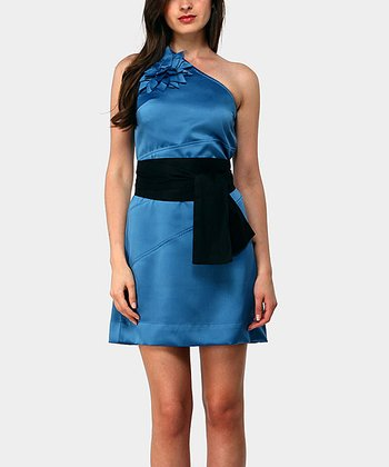 Blue London Asymmetrical Dress