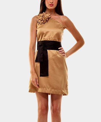 Camel London Asymmetrical Dress