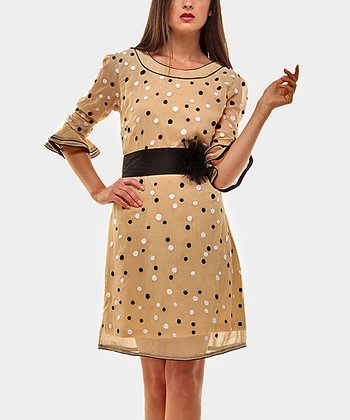 Beige Sandra Belted Three-Quarter Sleeve Dress