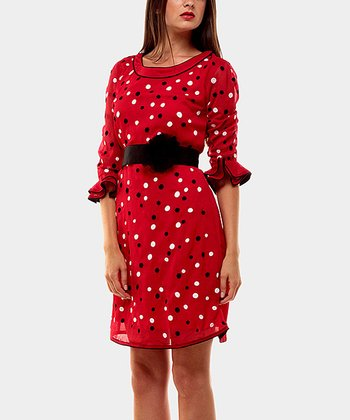 Red Sandra Belted Three-Quarter Sleeve Dress