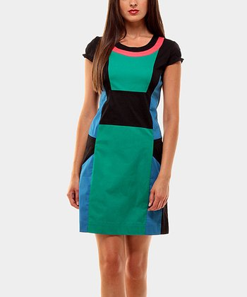 Black & Teal Aroma Color Block Cap-Sleeve Dress