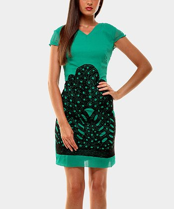Sea Foam Green Mountain Cap-Sleeve Dress